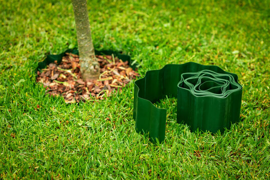 green plastic lawn edge tape for flowerbed and tree edging
