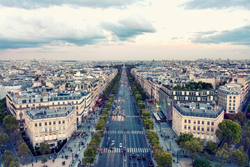 Wall Mural - The Champs-Elysées avenue in Paris at sunset