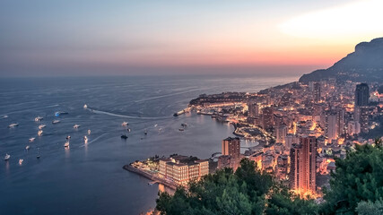 Fototapete - Monaco on the French Riviera in evening