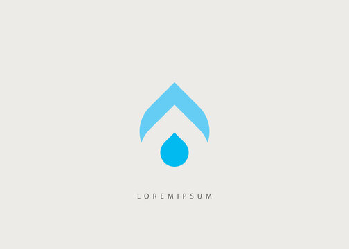 Drop water logo template. Initial A, and drop water crop vector, oil drop negative space illustration.