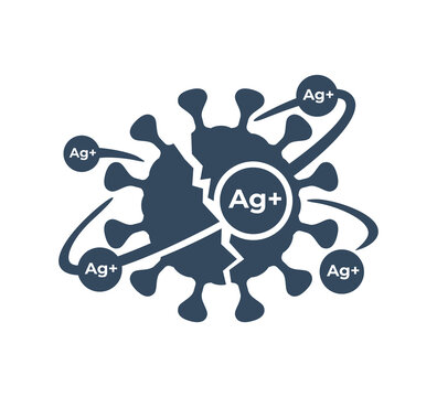 Silver ions acting emblem - antibacterial properties of Ag molecules - argentum destroys bacteria shell - isolated vector icon for cosmetics or household chemicals