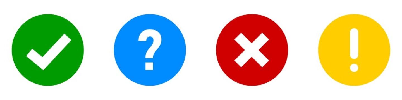 Checkmark cross exclamation question vector icon. Circle symbol.
