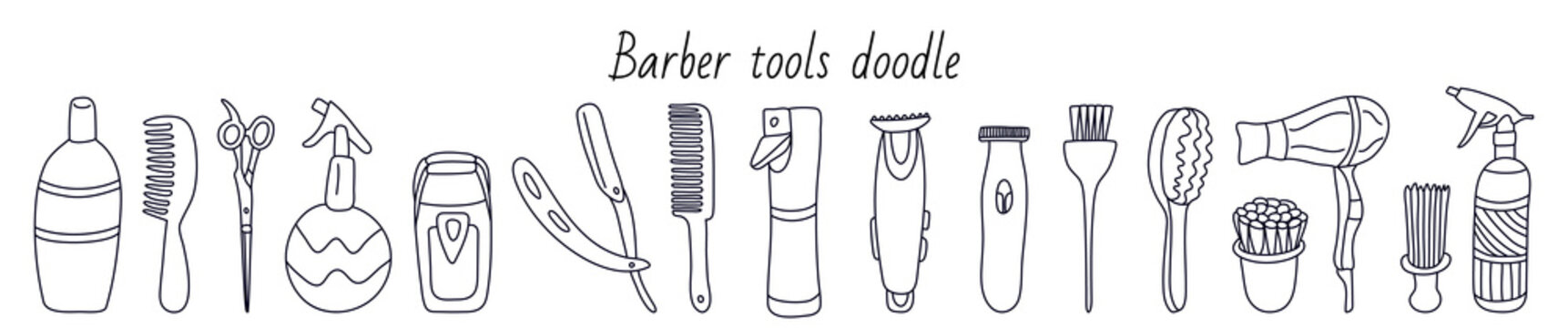 Set with barber tools. Manual  razor, flat comb hair, brushes, spray, shaver, trimmer. Hand drawn vector illustration in black ink on white. Isolated outline. Doodle style. Great for barbershops.