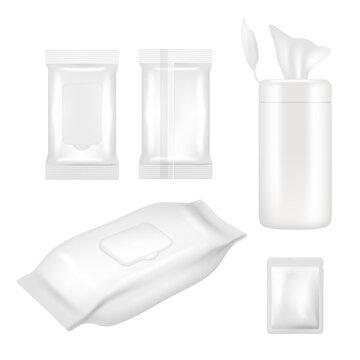 Vector realistic white blank wet wipes packaging mockup set
