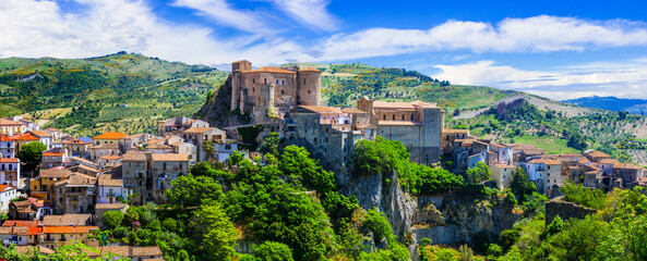 Papiers peints Con. Antique Italian most beautiful medieval hilltop villages (borgo) - Oriolo Calabro in Calabria, Italy