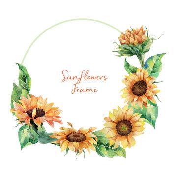 Watercolor sunflowers wreath