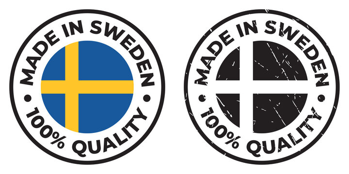Vector circle symbol. Text Made in Sweden with flag. Stamp. Isolated on white background.