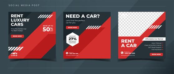 Obraz Automotive car rental banner for social media post template - fototapety do salonu