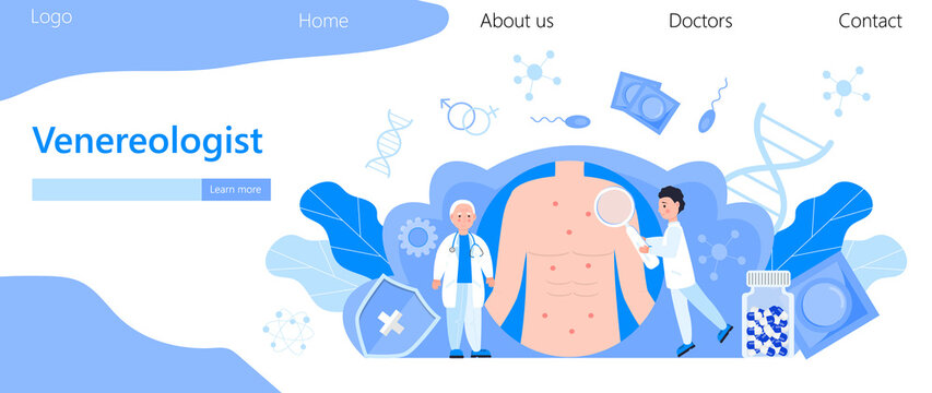 Venereologist concept vector for health care landing page. Venereal diseases, treatment of gonorrhea, syphilis, chlamydia. Tiny doctor treat patient.