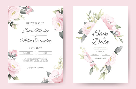 wedding invitation card template set with pink rose watercolor painting