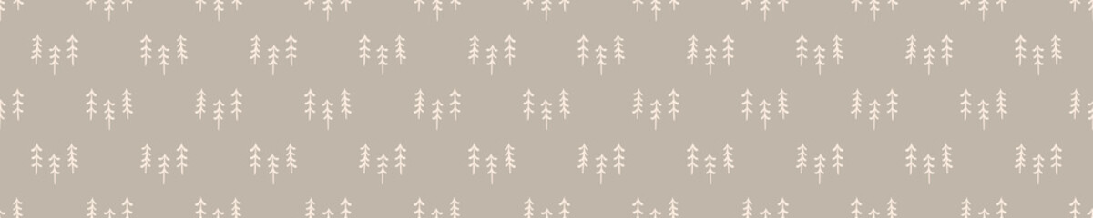 Seamless background forest tree  banner. Gender neutral baby border pattern. Simple whimsical minimal earthy 2 tone color. Kids nursery edging or boho camping fashion ribbon trim.