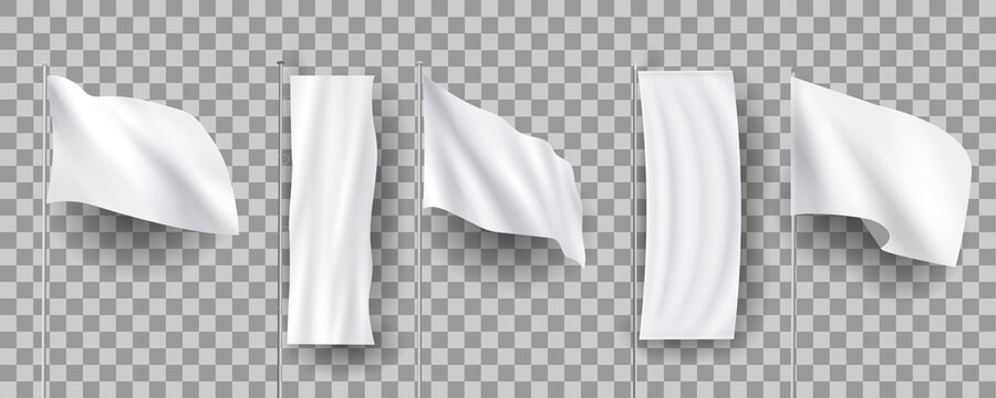 White different blank feather flags, empty banners stand, 3d realistic mockups