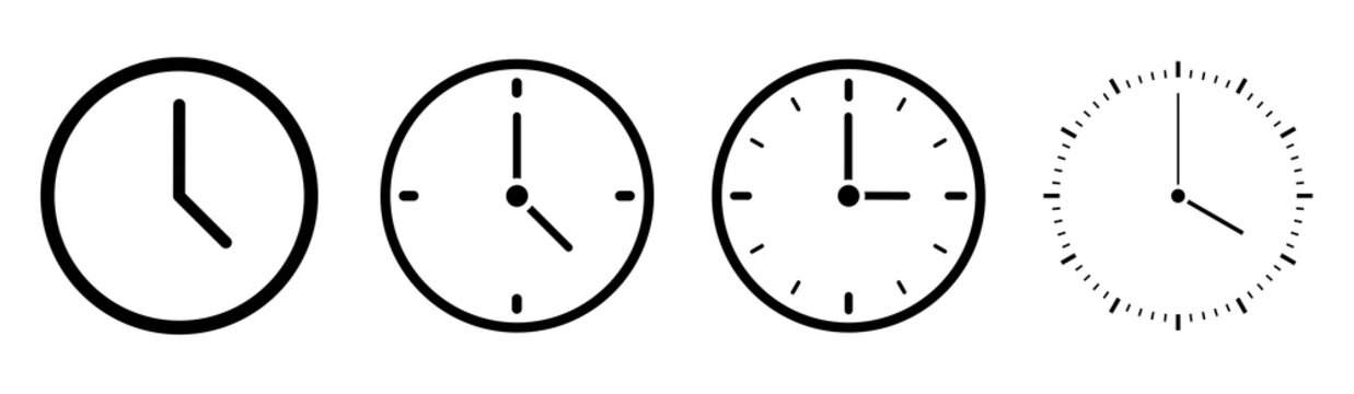 Clock icons in line style set isolated on white background. Time icon. Vector