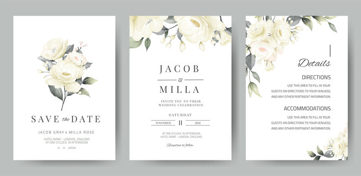 wedding invitation card template set with white rose bouquet watercolor painting
