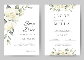wedding invitation card template set with white rose bouquet watercolor painting flower