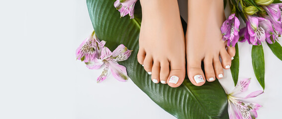 Beautiful perfect female skin legs feet top view with tropical flowers and green palm leaf. Nail polish, care and clean, spa pedicure treatment in white. Concept on background isolated. Copy space