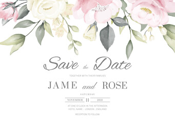 wedding invitation card template set with pink and white rose watercolor painting