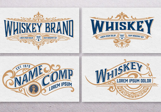 Set of 4 Vintage Liquors Logos or Labels