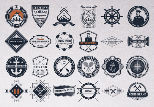 Set of 24 Vintage Logos and Badges