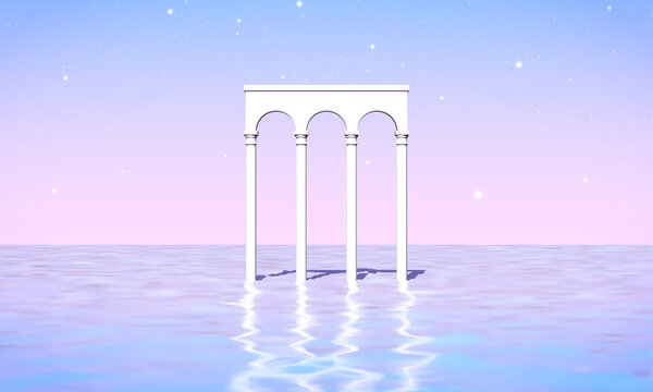 Aesthetic landscape with colonnade of white pillars in surreal sea. 90s or 80s styled vaporwave background with pastel pink and blue sunset colors