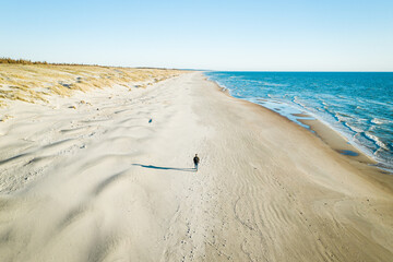 Aerial view of traveler walking alone on wild seaside beach near Baltic sea in Klaipeda, Lithuania.