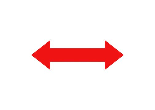 red double headed arrow on white background illustration direction navigation symbol side ways