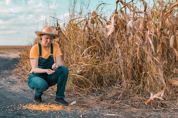 Disappointed female corn farmer in cornfield after poor harvest