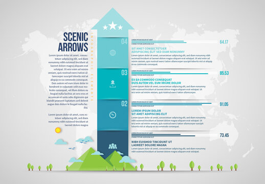 Arrow Infographic with Scenic Illustration