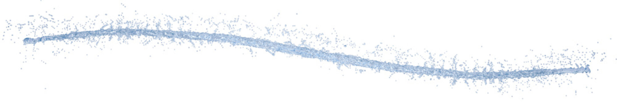 Long thin light blue curved jet of water with many small drops isolated on white background. 3D illustration