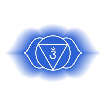 Ajna icon. The sixth frontal chakra. Third eye. Vector indigo blue gloss and shine. Line symbol. Sacral sign. Meditation