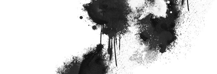 Black grunge ink blot isolated on white. Abstract smear acrylic and watercolor painting texture paper horizontal background.
