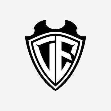 D E initials monogram logo shield designs a modern