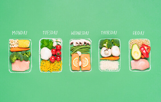 Weekly meal plan. Meal prep concept. Raw food ingredients in boxes