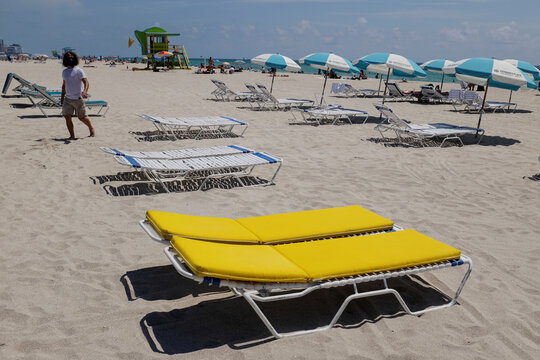 Beaches reopen with restrictions to limit the spread of the coronavirus disease in MIami Beach