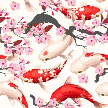 Seamless vector pattern with koi fish and sakura
