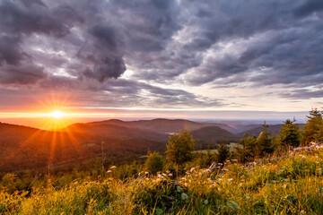 Sunset in northern Black Forest near Bad Herrenalb