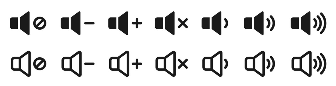 Sound icons set. Vector isolated sound volume up, down or mute control collection. Sound volume control symbol. Audio voices sound icon - stock vector.