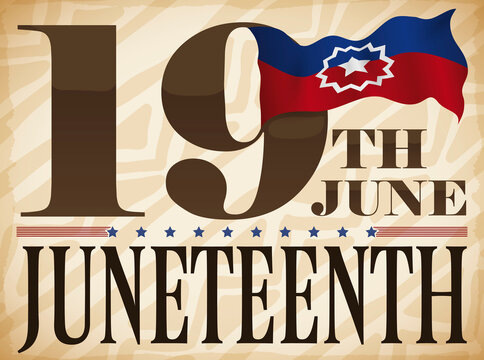 Scroll with Tribal Pattern, Date and Flag to Celebrate Juneteenth, Vector Illustration