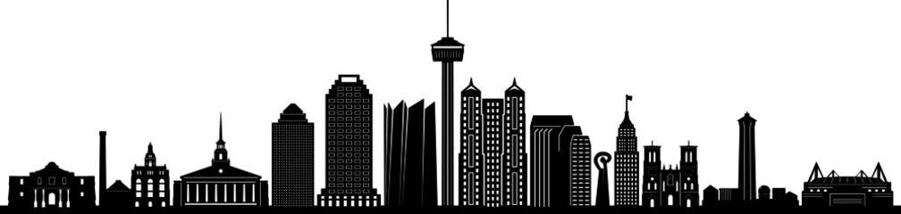 SAN ANTONIO City Texas Skyline Silhouette Cityscape Vector