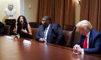 U.S. President Trump holds a meeting with black supporters in the Cabinet Room at the White House in Washington