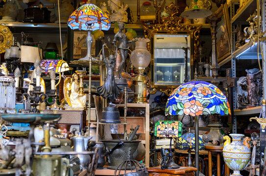 BARCELONA, SPAIN - MAY 09, 2018. Antiquary dealer shop in Barcelona.