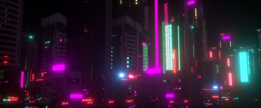 Night city lights. Neon urban future. Futuristic city in a cyberpunk style. Photorealistic 3D illustration. Futuristic skyscrapers with huge luminous billboards.