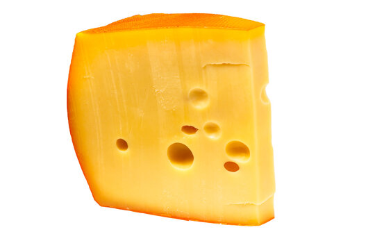 A slice of Reblochon cheese ( Limburger, Munster, Taleggio, Fontino, Tilsit) lies on a white background. Isolated