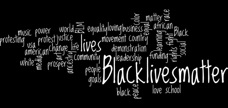 Black Lives Matter wordcloud Illustration.