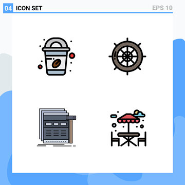 Group of 4 Filledline Flat Colors Signs and Symbols for coffee, page, nautical, ship, webpage