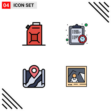 Stock Vector Icon Pack of 4 Line Signs and Symbols for engine, location, clock, estimate, destination