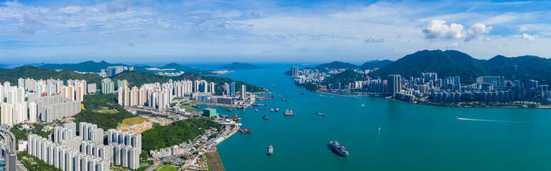 Top view of Hong Kong city Fotomurales