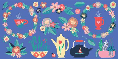 Flower Garden Tea Party Painting Vector Set