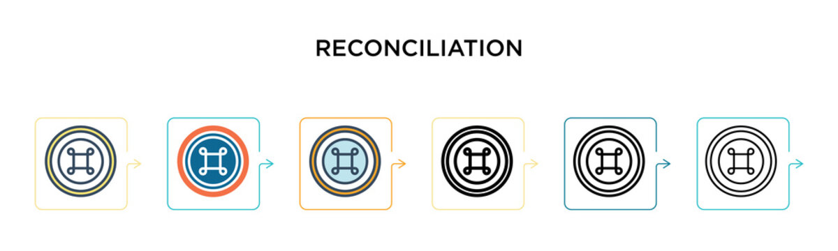 Reconciliation vector icon in 6 different modern styles. Black, two colored reconciliation icons designed in filled, outline, line and stroke style. Vector illustration can be used for web, mobile, ui