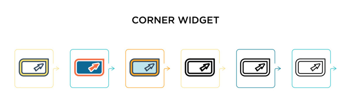 Corner widget vector icon in 6 different modern styles. Black, two colored corner widget icons designed in filled, outline, line and stroke style. Vector illustration can be used for web, mobile, ui